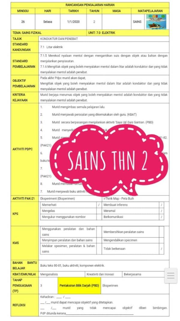 RPH SAINS TAHUN 2 - RPH PAK-21 Sekolah Rendah