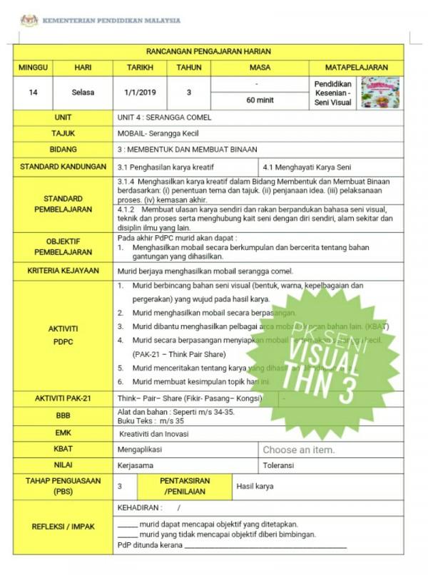 RPH PENDIDIKAN SENI VISUAL TAHUN 3 - RPH PAK-21 Sekolah Rendah