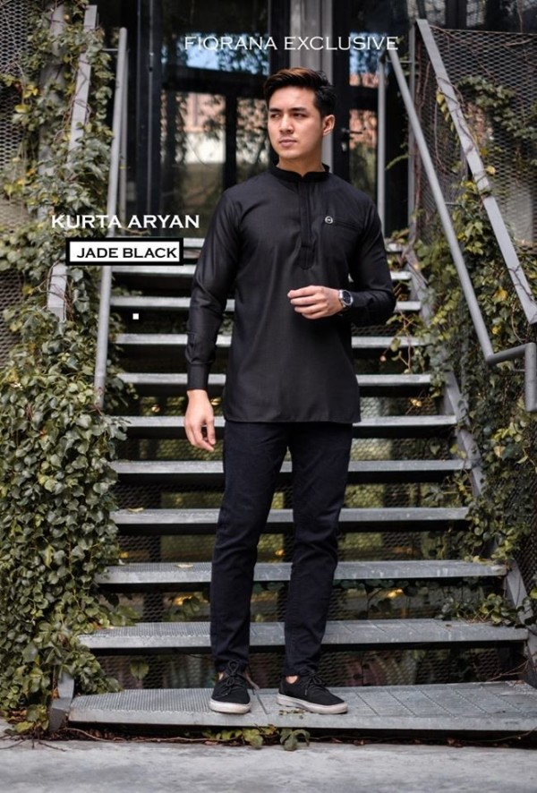 KURTA ARYAN ( JADE BLACK) - Fiqrana Exclusive