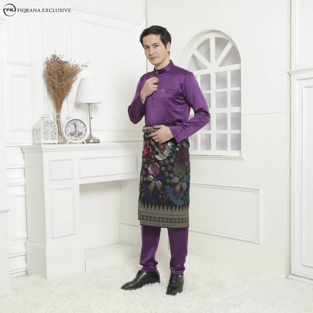 Baju Melayu Slimfit Violet Purple - Fiqrana Exclusive