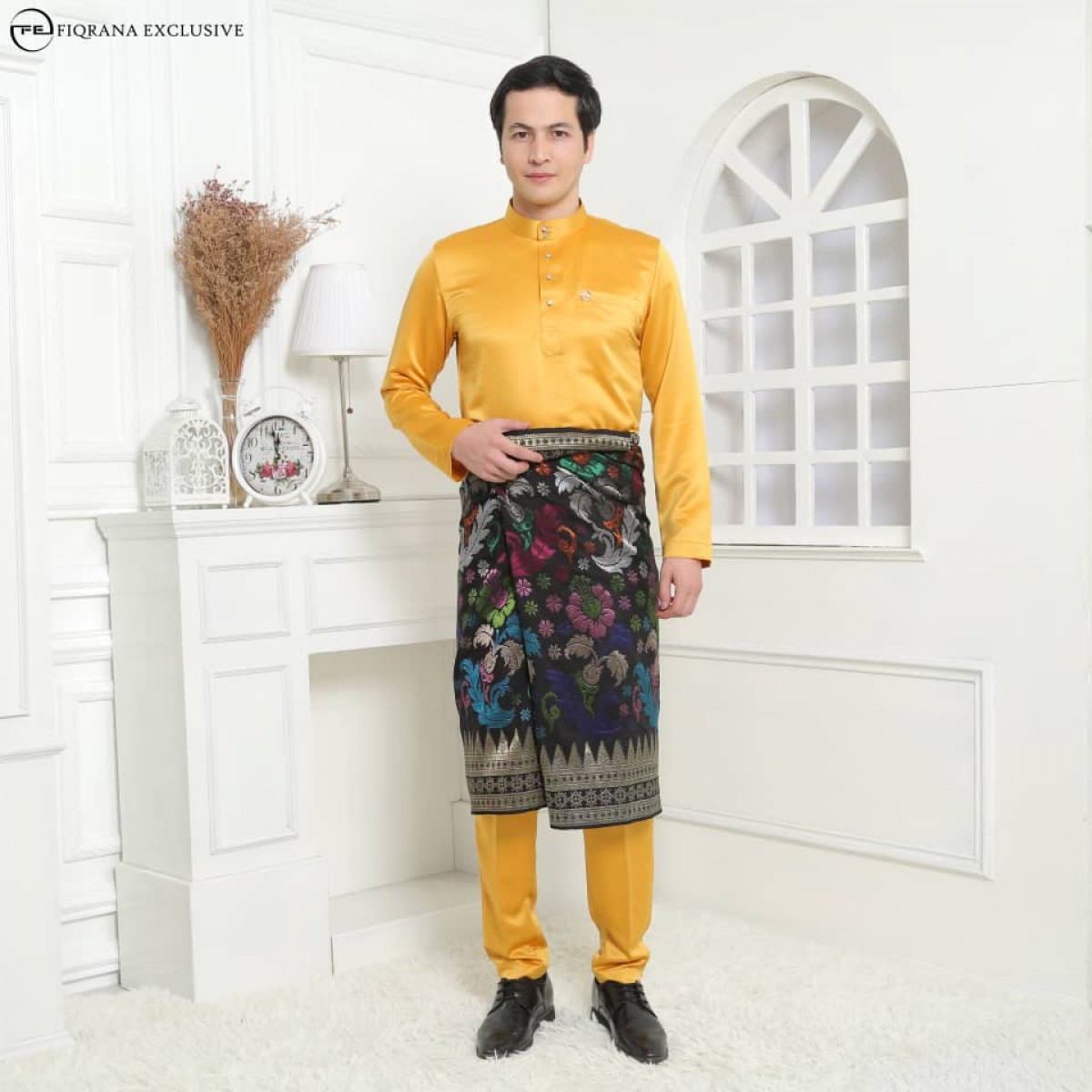 Baju Melayu Slimfit Mustard - Fiqrana Exclusive