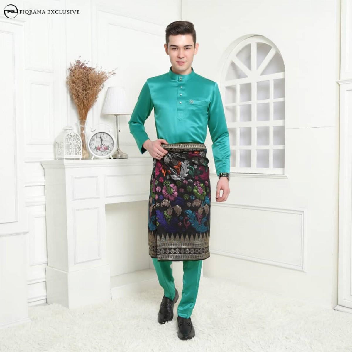 Baju Melayu Slimfit Teal Green - Fiqrana Exclusive