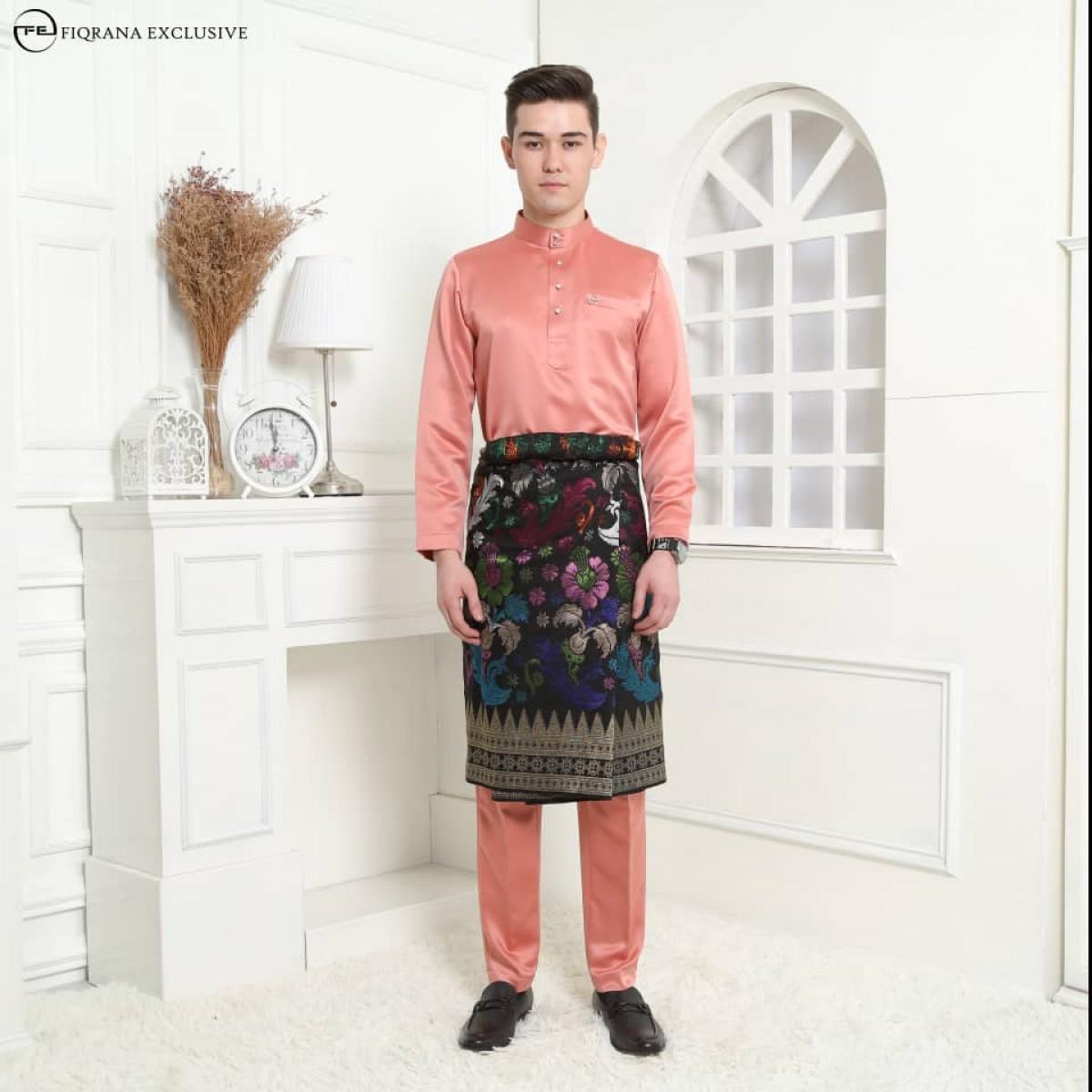 Baju Melayu Slimfit Salmon - Fiqrana Exclusive