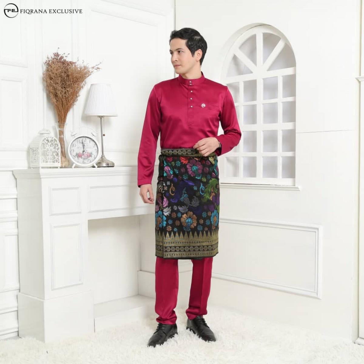 Baju Melayu Slimfit Maroon - Fiqrana Exclusive