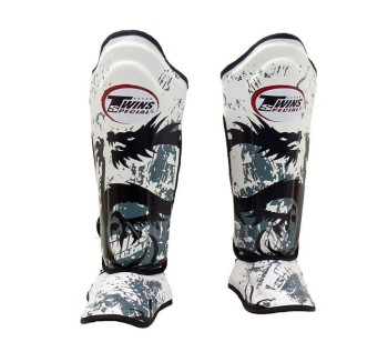 Twins Fancy Leather Shin Guards (SGL-10) - WHITE