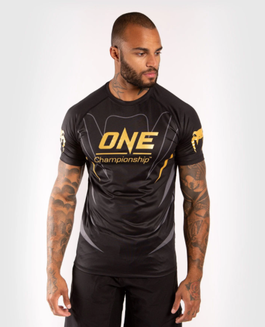 VENUM X ONE FC DRY TECH T-SHIRT - BLACK/GOLD - Potosan Corner Proshop