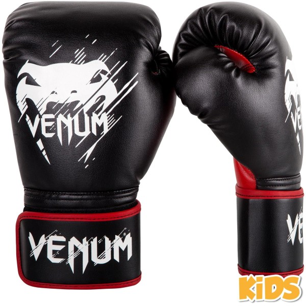 VENUM CONTENDER KIDS BOXING GLOVES - BLACK / RED - Potosan Corner Proshop