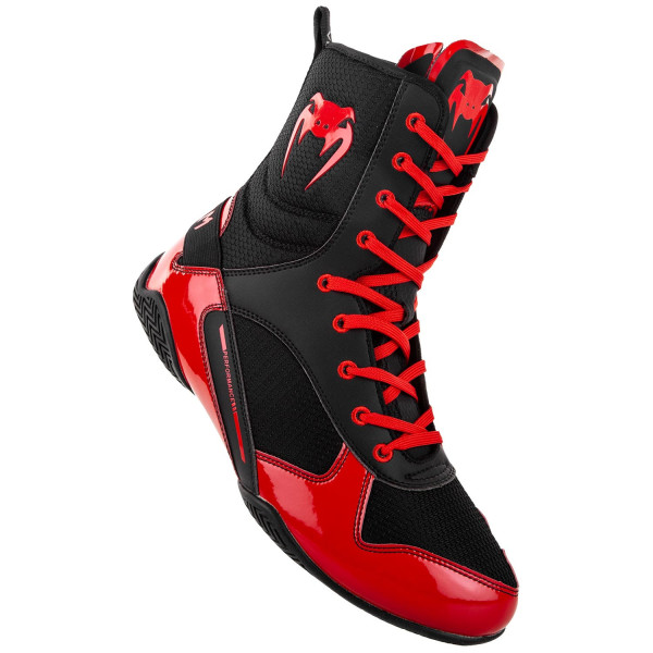 VENUM ELITE BOXING SHOES - BLACK/RED - Potosan Corner Proshop