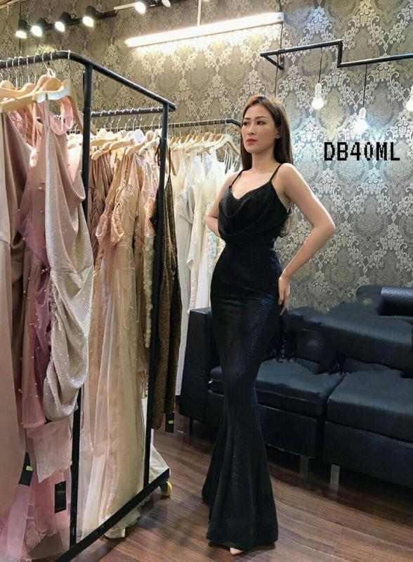 Glitter Black Maxi Bodycon Dress