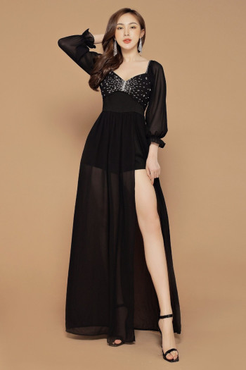 [PRE-ORDER] Yara Maxi Dress in Black - HerSpace Closet