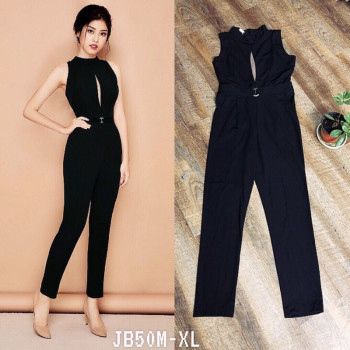 Black Sleeveless with Tulle Keyhole Jumpsuit