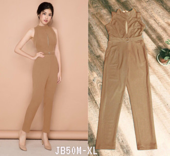 Brown Sleeveless with Tulle Keyhole Jumpsuit