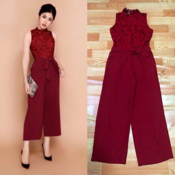 Red Lace Panel Jumpsuit