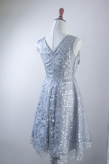 Glitter Tulle V-Neck A-Line Dress with 3D Floral Bodice