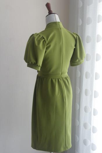 Green Elegant Collar Dress