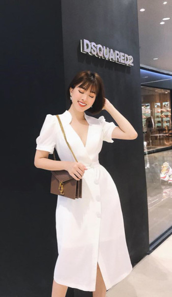 White Elegant Collar Dress