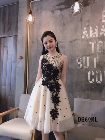 Tulle 3D Flower Lace Short Dress (Premium Dress)