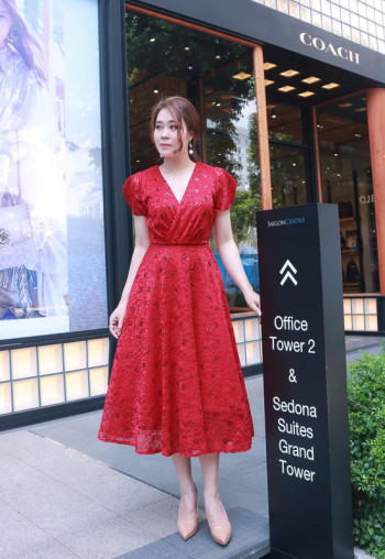 Red Amity Lace Embroidered Dress