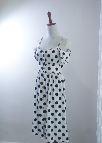 White Polka Dot Off Shoulder Dress
