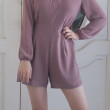 Joy V-Neck Romper in Dark Purple - HerSpace Closet