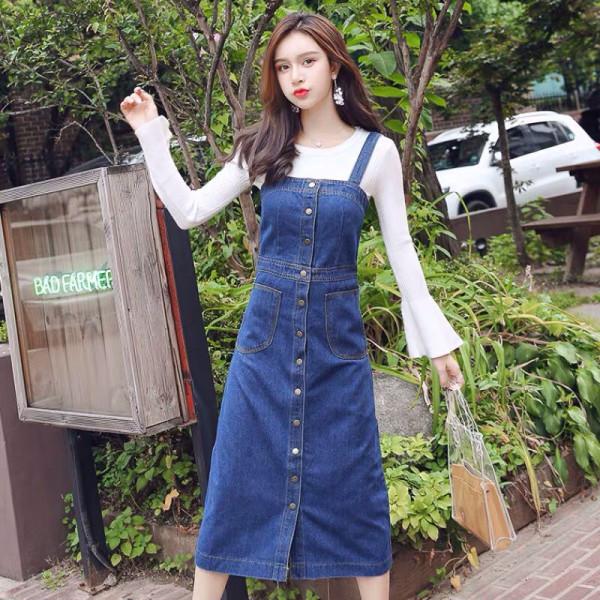 Denim Overall Long Dress - HerSpace Closet
