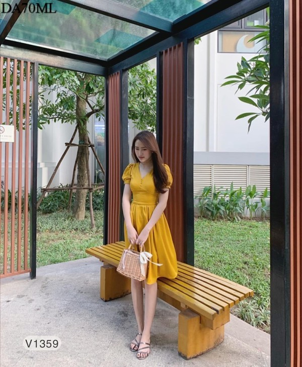Nancy Dress in Yellow (Premium) - HerSpace Closet