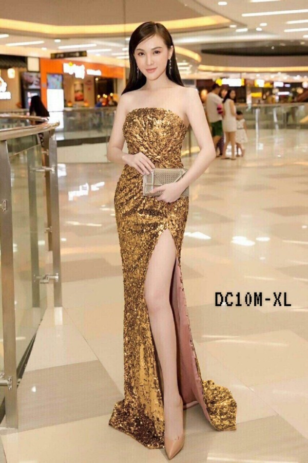 Gold Elegant Glitter Dress (Premium) - HerSpace Closet