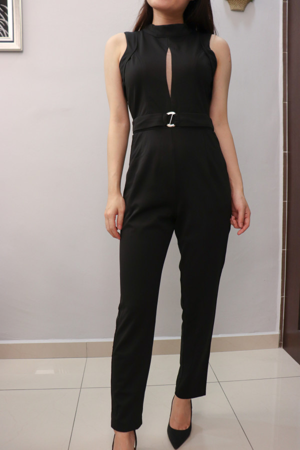 Black Sleeveless with Tulle Keyhole Jumpsuit (Premium) - HerSpace Closet