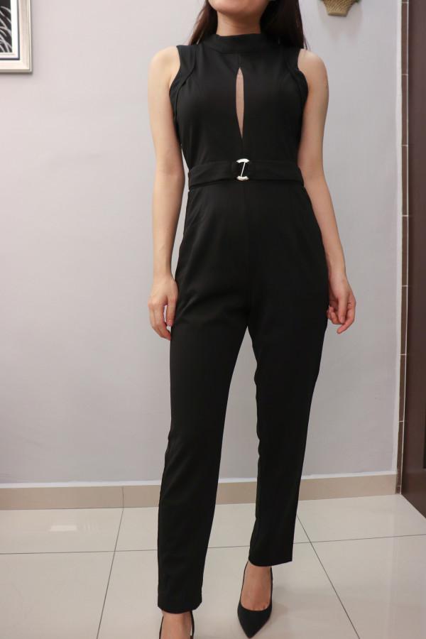Black Sleeveless with Tulle Keyhole Jumpsuit - HerSpace Closet