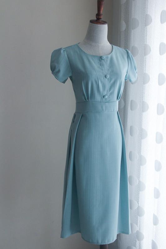 Sucrefas Blue Plain Dress (Premium) - HerSpace Closet
