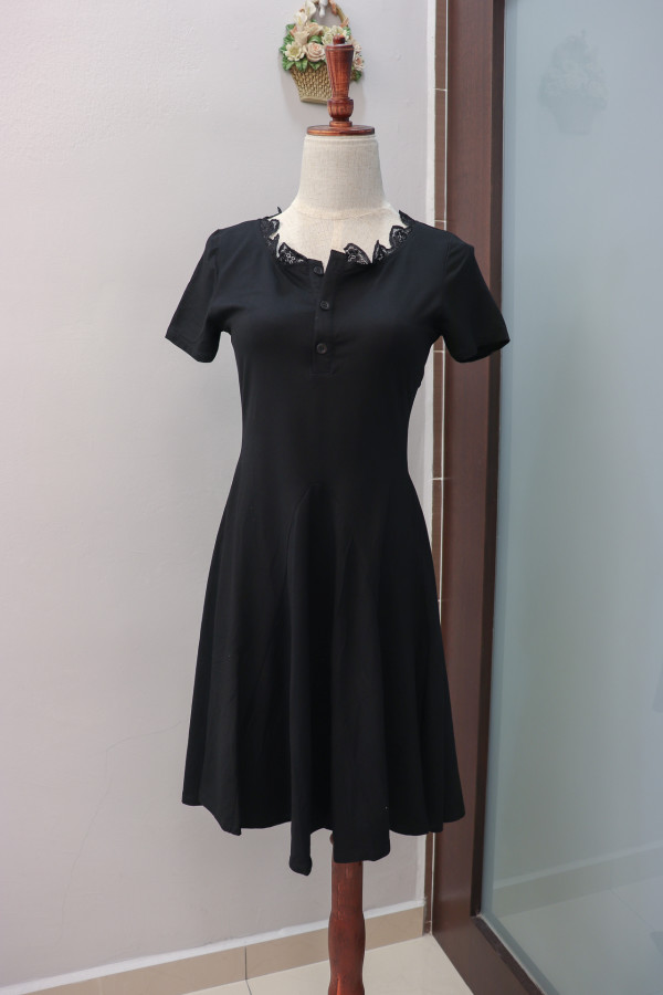 Polly Lacey Collar Dress in Black (Premium) - HerSpace Closet