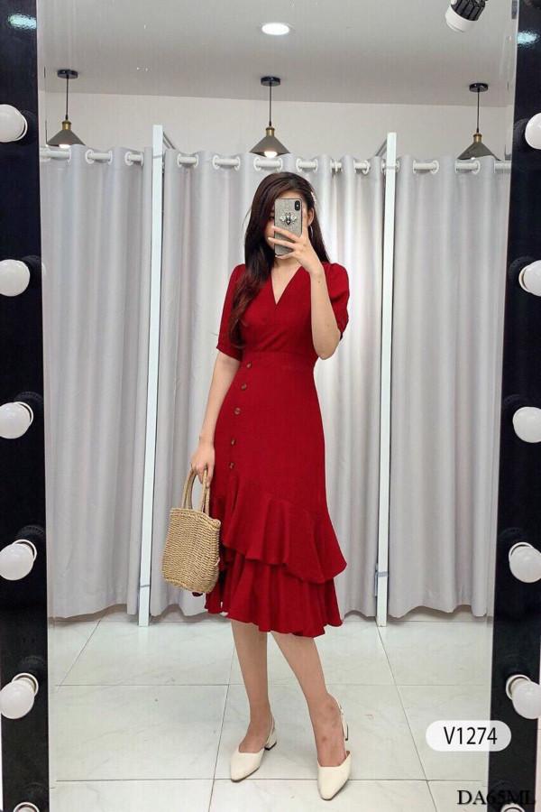[PRE-ORDER] Rie Midi Dress in Red - HerSpace Closet