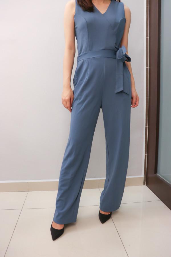 Blue Wrap V-Neck Jumpsuit (Premium) - HerSpace Closet