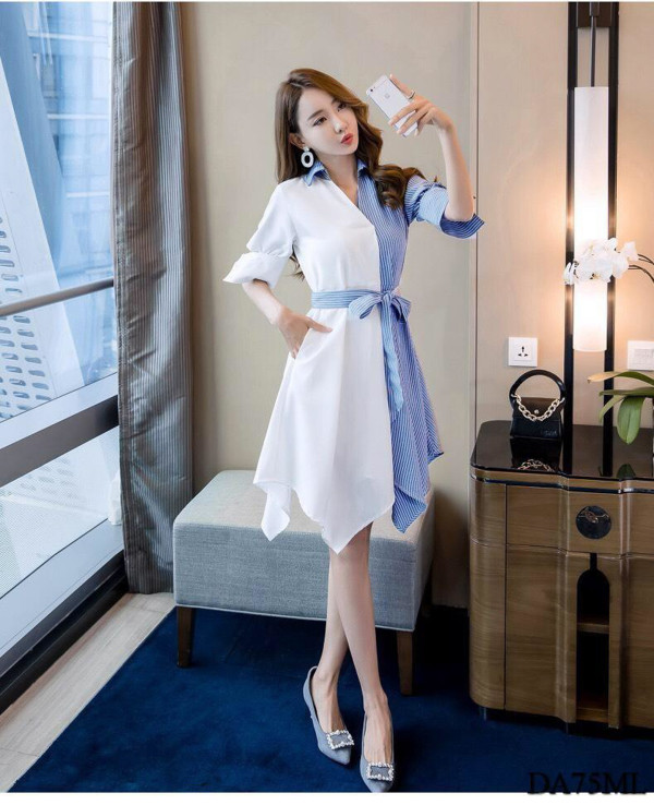 [PRE-ORDER] Dual Tone Dress in White and Blue - HerSpace Closet