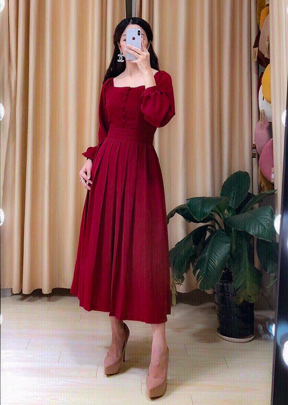Macy Long Red Dress  - HerSpace Closet