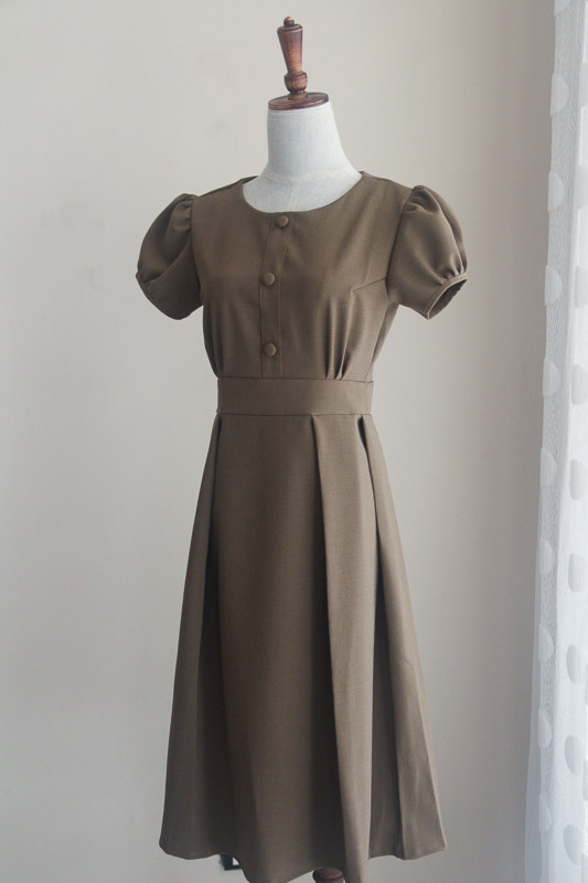 Sucrefas Brown Plain Dress - HerSpace Closet