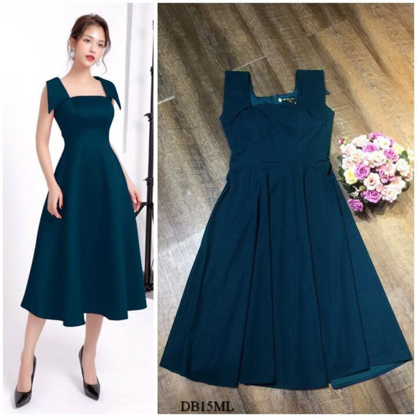 [PRE-ORDER] Gianna Midi Dress in Dark Blue (Premium) - HerSpace Closet
