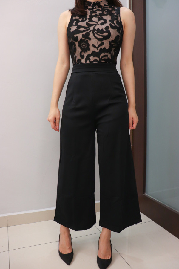 Black Lace Panel Jumpsuit - HerSpace Closet