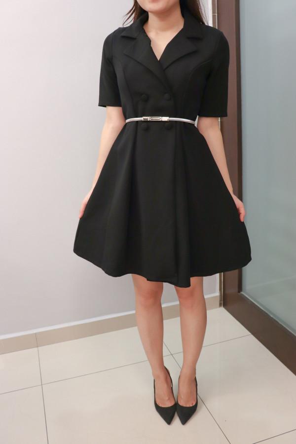 Fuslie Midi Dress in Black - HerSpace Closet