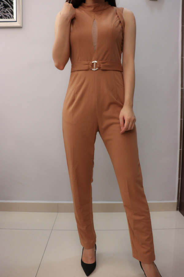 Brown Sleeveless with Tulle Keyhole Jumpsuit - HerSpace Closet