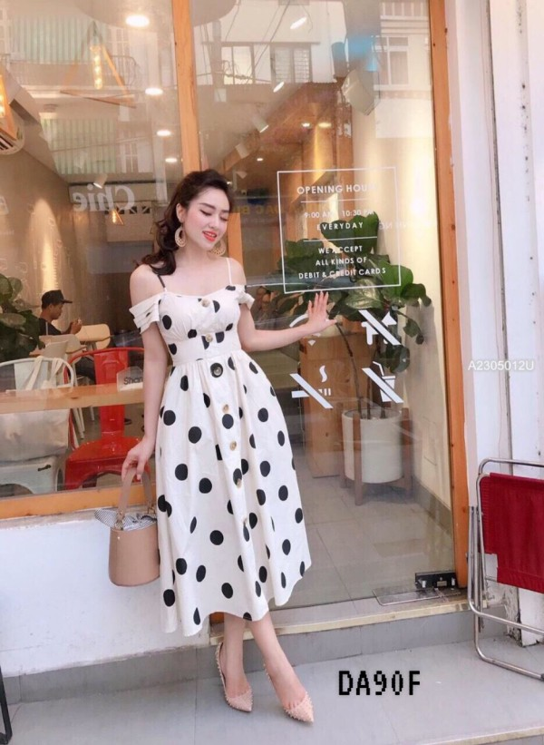 White Polka Dot Off Shoulder Dress - HerSpace Closet