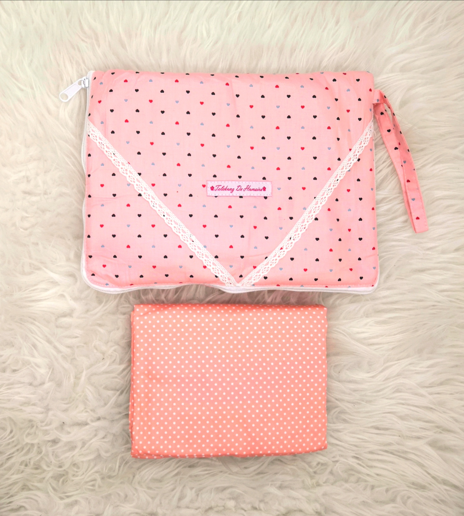Telekung De Humaira in Love Pink