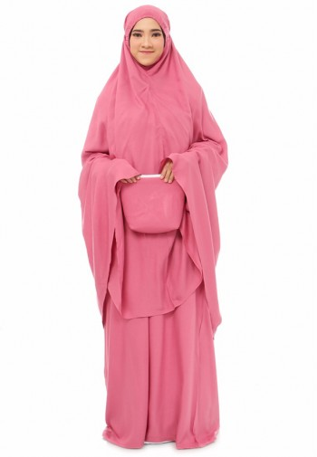 Telekung Delayla Plain in Rose