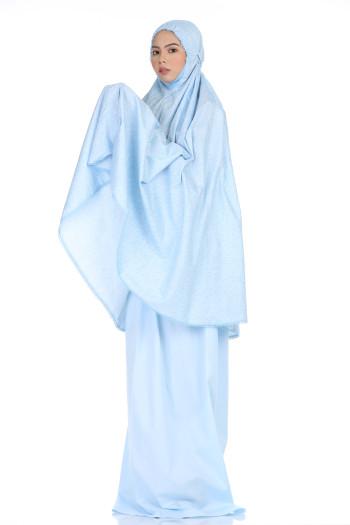 Telekung De Humaira Paisley in Blue