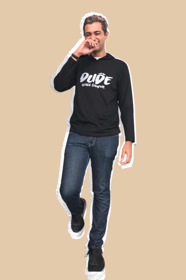 DUDE COLLECTION - Long Sleeve Tshirt with Hoodie - Silver Font  - MEKNIS