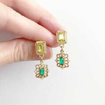 Precious Hexagon Drop Earrings (Cubic Zirconia stones) - Diary of a Miniature Enthusiast