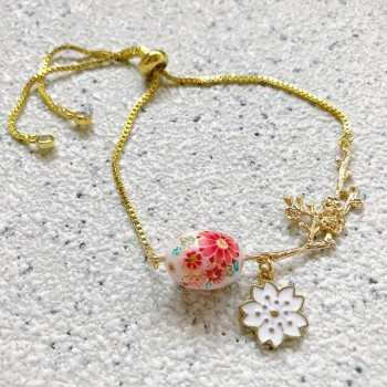 White Sakura Blossoms Adjustable Bracelet - Diary of a Miniature Enthusiast