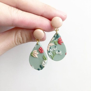 Sage & Serenity Terazzo Small Teardrop Earrings - Diary of a Miniature Enthusiast