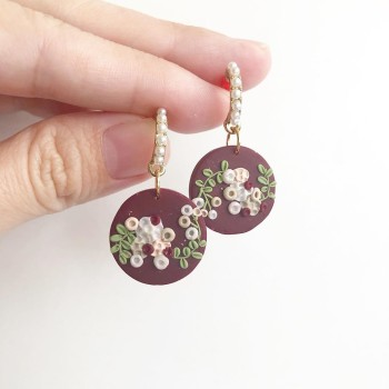 Blooms of Splendour 18mm Round Dangle Earrings - Diary of a Miniature Enthusiast
