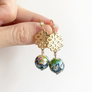 Gold with Blue Tassel Earrings - Diary of a Miniature Enthusiast